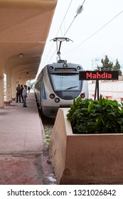 MONASTIR, TUNISIA-CIRCA MAY, 2012: New designed electric train stands in Monastir key middle station. The Sahel Metro is an electrified, metre gauge railway line with trains serving Sousse and Mahdia