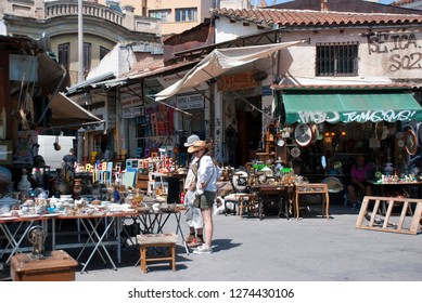 Monastiraki/Plaka district in Athens, Greece. September 2017: The Flee market