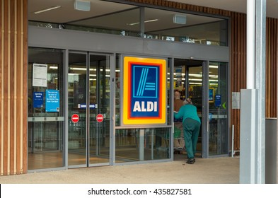 Monbulk, Australia - April 20, 2016: Aldi is a large German discount supermarket chain that is expanding its operations in Australia. This is a new store in Monbulk in the Dandenong Ranges.