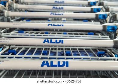 Monbulk, Australia - April 20, 2016: Aldi supermarket shopping trolleys in front of an Australian store. Aldi is a German supermarket chain rapidly expanding in Australia.