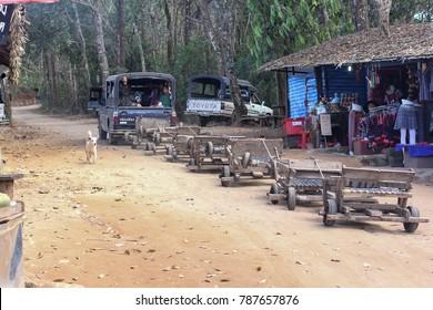 Moncham, Chiangmai, Thailand - January 22, 2017 : Pick up truck pulled mhong go-karts at Moncham, Chiangmai, Thailand.