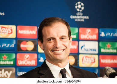 Monchengladbach, GERMANY - 2nd NOVEMBER, 2015: Massimiliano Allegri at press conference ahead of UEFA Champions League group match Borussia Monchengladbach vs. Juventus FC.