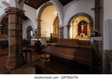 Monchique, Portugal - April 25, 2018: General indoor view of the Main Parish Church in Monchique, Algarve, Portugal.