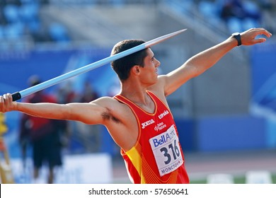 MONCTON, CANADA - JULY 21: Jonay Jordan of Spain (ESP) performs the javelin throw as part of the decathlon at the 2010 IAAF World Junior Championships on July 21, 2010 in Moncton, Canada.