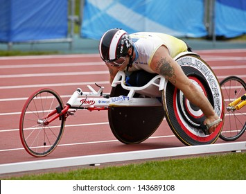 MONCTON, CANADA - June 22: 10,000-meter run wheelchair athlete Joshua Cassidy races at the Canadian Track & Field Championships June 22, 2013 in Moncton, Canada.