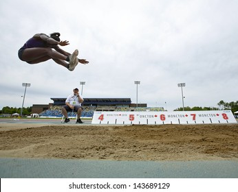 MONCTON, CANADA - June 22: Heptathlon long jumper Tamara Cap is airborne at the Canadian Track & Field Championships June 22, 2013 in Moncton, Canada.