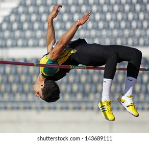 MONCTON, CANADA - June 22: High jumper Ali er-Rahab competes at the Canadian Track & Field Championships June 22, 2013 in Moncton, Canada.