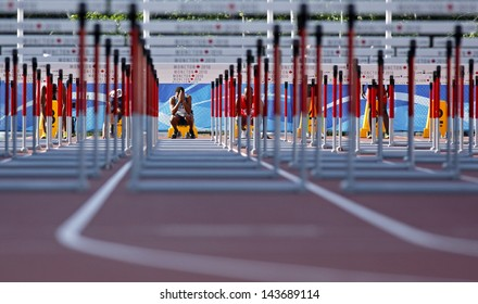 MONCTON, CANADA - June 22: Moseley Ingvar prepares for the 110-meter hurdles at the Canadian Track & Field Championships June 22, 2013 in Moncton, Canada.