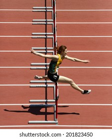 MONCTON, CANADA - June 28: Adrea Propp competes in the women's 400-metre hurdles at the Canadian Track & Field Championships June 28, 2014 in Moncton, Canada.