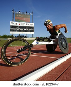 MONCTON, CANADA - June 28: Diane Roy races in the women's 1500-metre wheelchair at the Canadian Track & Field Championships June 28, 2014 in Moncton, Canada.