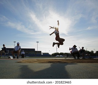 MONCTON, CANADA - June 28: Divyajyoti Biswal competes in the women's long jump at the Canadian Track & Field Championships June 28, 2014 in Moncton, Canada.