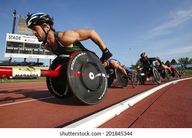 MONCTON, CANADA - June 28: Jean-Philippe Maranda leads the pack in the men's 1500-metre wheelchair at the Canadian Track & Field Championships June 28, 2014 in Moncton, Canada.