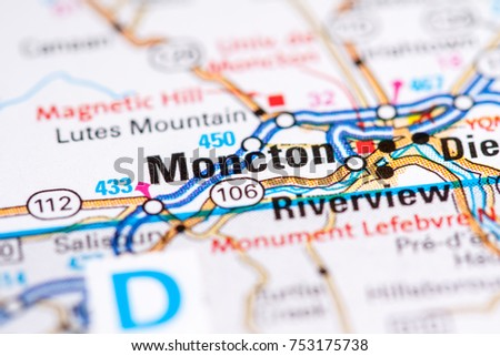 Moncton Canada On Map Stock Photo Edit Now 753175738 Shutterstock