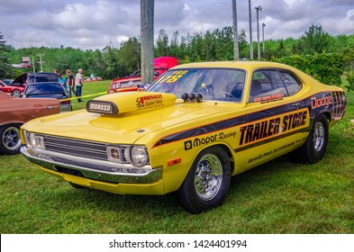 Moncton, New Brunswick, Canada - July 8, 2017 : 1972 Dodge Demon drag race car parked in Centennial Park during 2017 Atlantic Nationals Automotive Extravaganza.