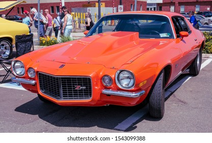 Moncton, New Brunswick, Canada - July 7, 2017 : 1972 Chevy Camaro Z/28 on display in the downtown area of Moncton, New Brunswick during 2017 Atlantic Nationals Automotive Extravaganza