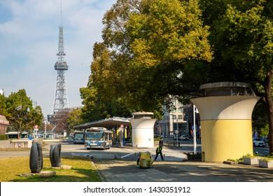 Monday 15 March 2018, Nagoya, Japan : Nagoya cityscape and Nagoya tv tower landmaek of Nagoya around Sakae area