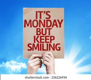 It's Monday But Keep Smiling card with sky background