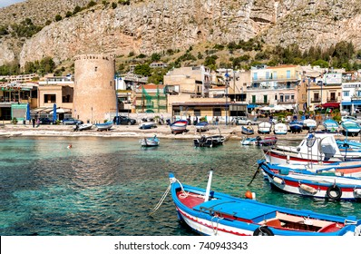 Mondello - Palermo, Sicily, Italy - October 9, 2017: Small port with fishing boats in the center of Mondello.
