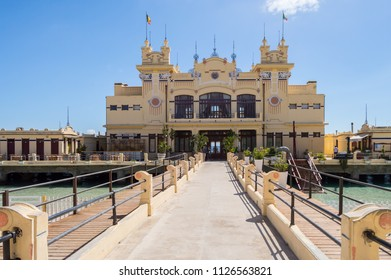 Mondello, Sicily, Europe-10/06 / 2018.View of a restaurant in an old bathhouse on a jetty in the town of Mondello in northern Sicily