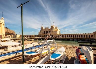 Mondello, Sicily/Italy - February 23 2020: Coastal Beach Village of Mondello near Palermo on Sicily on a warm and sunny day
