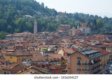 Mondovi town rooftops and buildings in summer in Piedmont, Italy