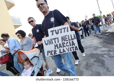 """MONDRAGONE, ITALY. OCTOBER 16: """"Marcia per la vita"""", protest of the people against the Camorra, the toxic waste and the burning of garbage on 16 october 2013."""