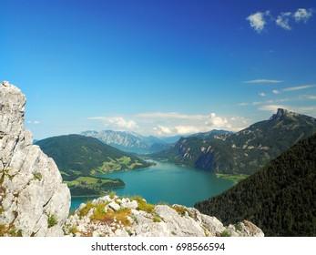 Mondsee and Attersee, view from Drachenwand rock, via ferrata, Halstatt region, Austria, Summer 2017
