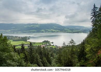 Mondsee and Attersee, view from Drachenwand  via ferrata, Hallstatt region, Austria