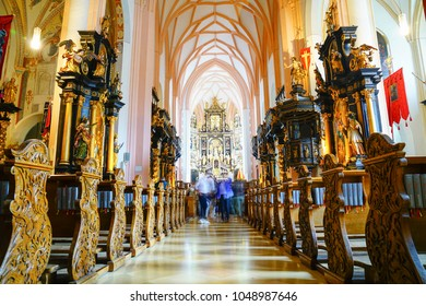 MONDSEE AUSTRIA SEPTEMBER 6; Inside Basilica Saint Michael wonderful  ornamentation and alters and structure of famous church September 6 2017  Mondsee, Austria