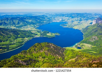 Mondsee or Moon lake aerial panoramic view from Schafberg viewpoint, Upper Austria. Mondsee lake located in the Salzkammergut region of Austria near St Wolfgang.