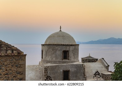 MONEMVASIA - GREECE, JUNE 2014: Architectural buildings in the picturesque village of Monemvasia. Laconia, Peloponnese, Greece.