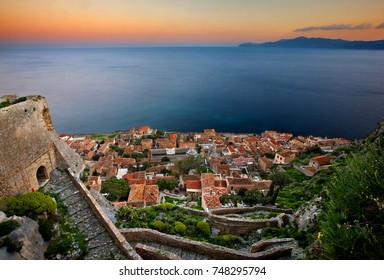 "MONEMVASIA, PELOPONNESE, GREECE. Panoramic view of the medieval ""castletown"" of Monemvasia (often called ""The Greek Gibraltar"", Lakonia, Peloponnese, Greece"