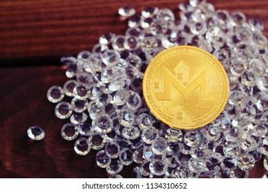 Monero coin on diamonds. Profit from monero concept.