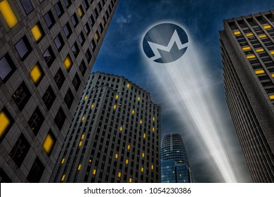 Monero cryptocurrency, anonymous payment open source privacy payment coin, superhero (Batman) concept, light beam projecting Monero symbol logo on the dark night sky between Gotham city skyscrapers