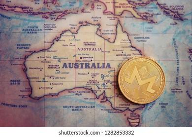Monero on Australia (map). Investment/ mining / trading of monero in Australia concept.