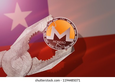 MONERO (XMR) coin being squeezed in vice on Chile flag background; concept of monero cryptocurrency under pressure. Prohibition of cryptocurrencies, regulations, restrictions or security