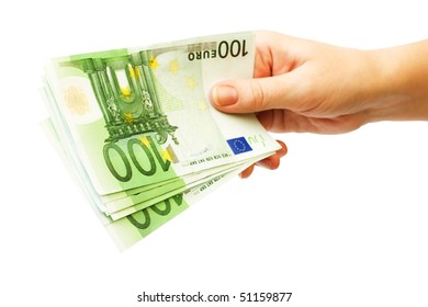 money - 100 eupo banknotes in female hand, isolated on white background