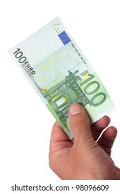 Money 100 Euro banknote in her hand. The image is isolated on a white background.