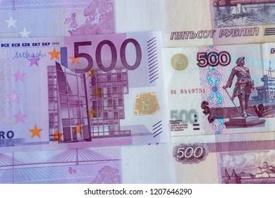 money 500 euro, 500 rubles, background