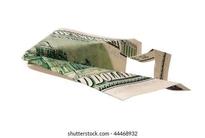 Money airplane, isolated on white background