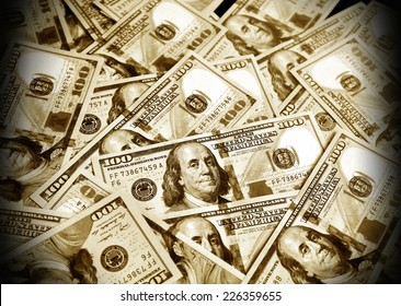 The money American dollars. Bundle of bank notes