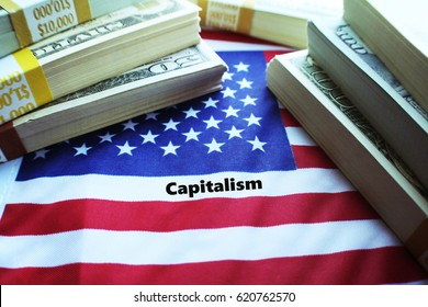 Money With The American Flag ( Capitalism ) High Quality