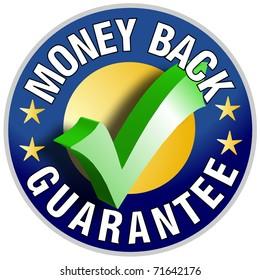 Money Back Guarantee Button/Label