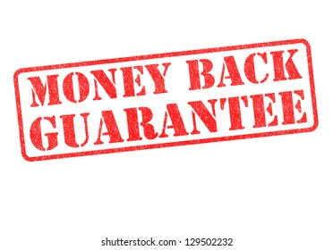 MONEY BACK GUARANTEE rubber stamp over a white background.