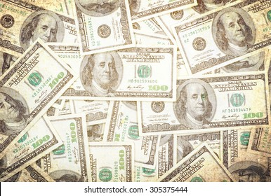 Money background of $100 bills in US currency