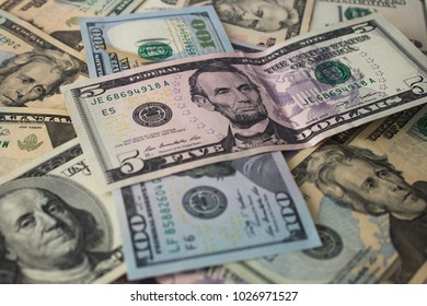 Money Background with american dollar bills. Business concept 1