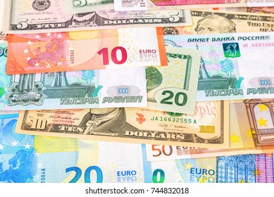 Money background from banknotes euro, american dollars and russian rubles