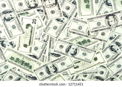 money background of $ bills in US currency