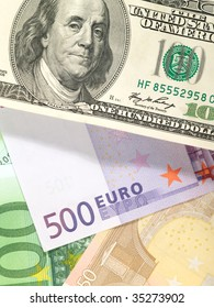 Money background from dollars and euro banknotes