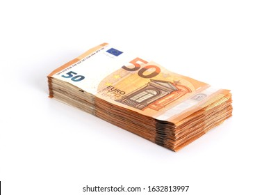 Money background euro cash banknotes 50 euro notes. Pack of money on white background. Business finance cash concept. Flat lay, copy space, from above, top view, horizontal.